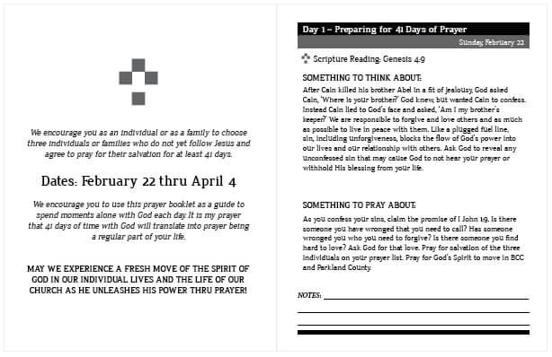 41 Days of Prayer Inside Sample
